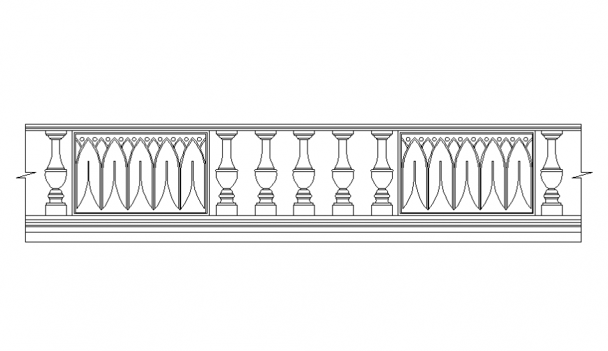 Classical wooden railing front view cad block details dwg file
