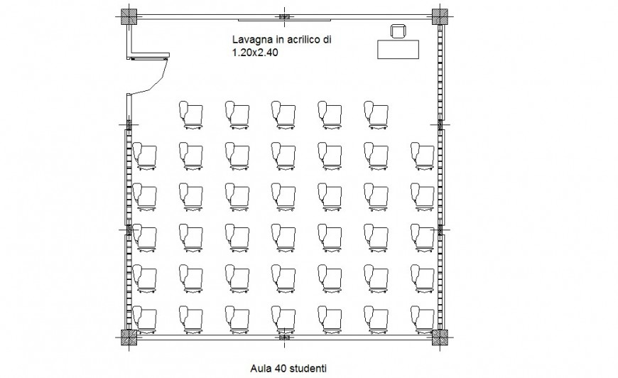 Classroom  top view plan detailing dwg file