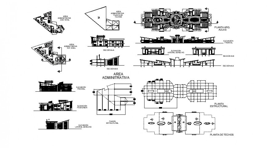 Classroom and administration area floor plan and elevation in auto cad