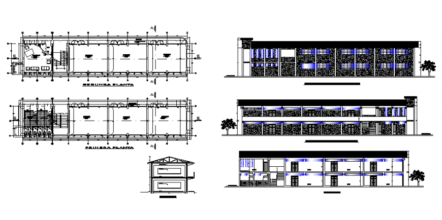 Classroom architecture school plan, elevation and section autocad file