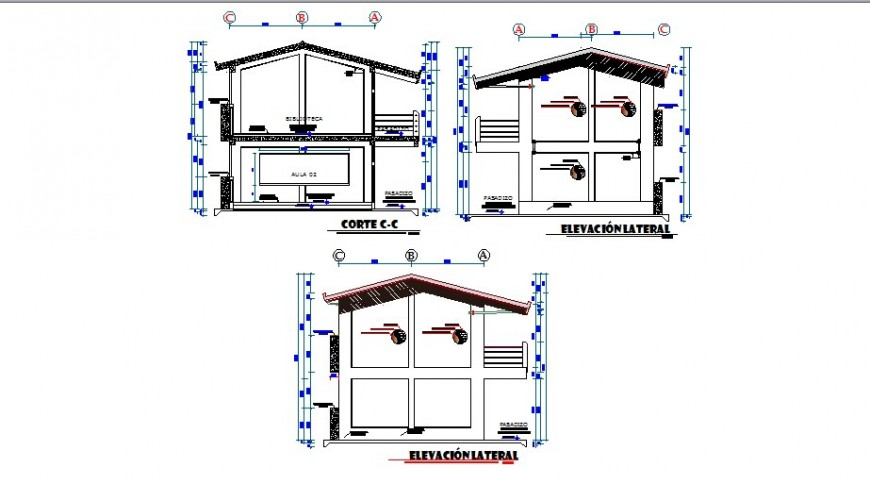 Classroom elevation and all sided section cad drawing details dwg file