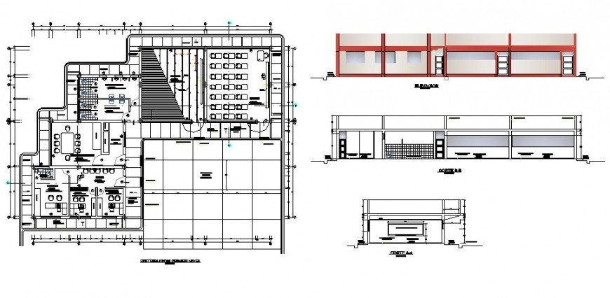 Classroom plan, elevation and section view in auto cad file