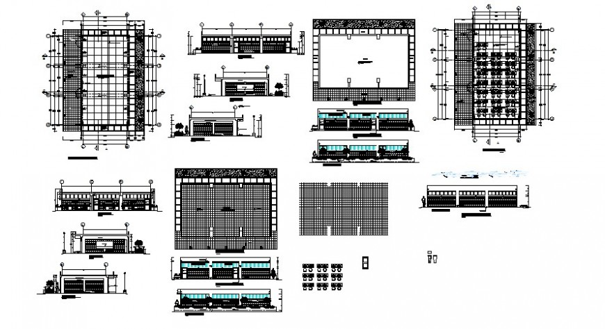 Classroom plan with elevation drawings in autocad
