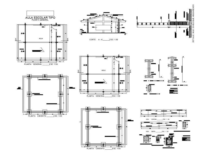 Classroom section, foundation and structure cad drawing details dwg file