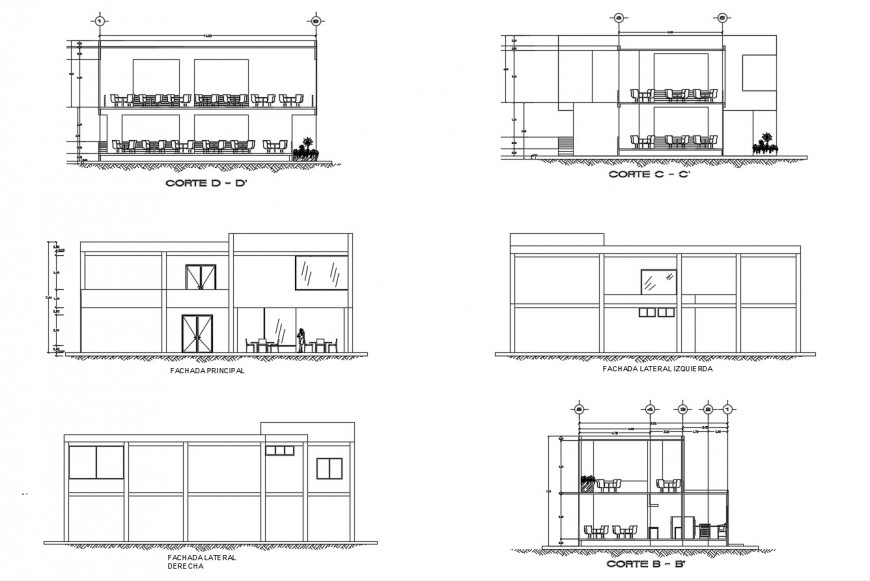 Classrooms of high-school elevations and sections details dwg file
