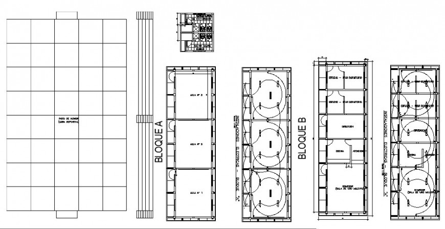 Classrooms plan, electric installation and structure cad drawing details dwg file