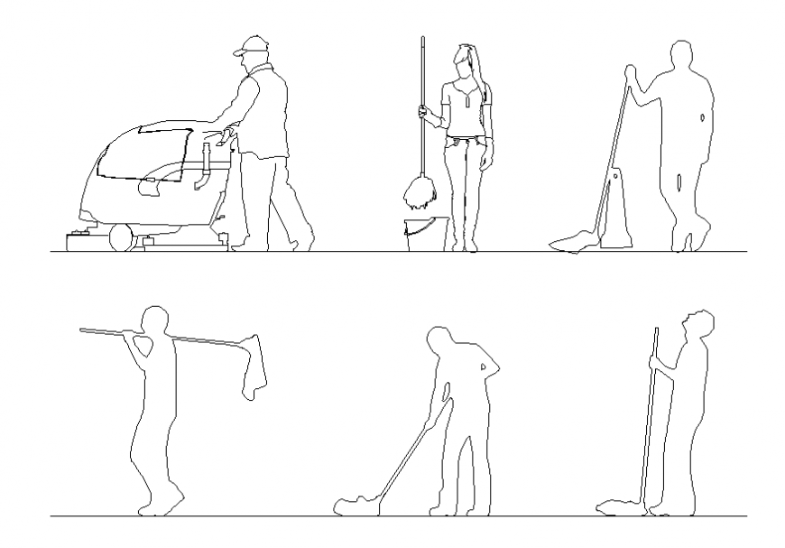 Cleaning people act blocks cad drawing details dwg file