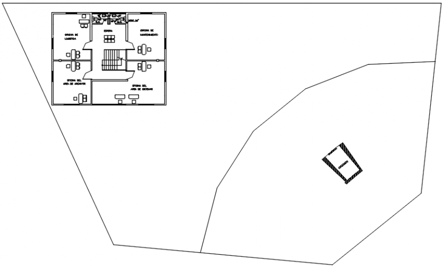 Clinic fifth floor plan with exit route in AutoCAD