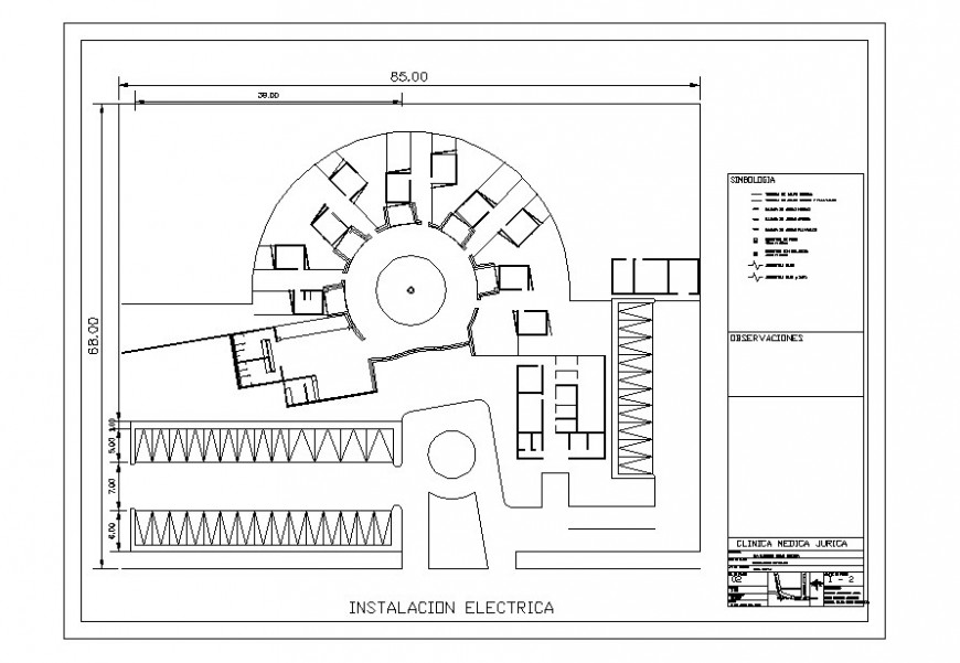 Clinic plan with electrical installation in AutoCAD file