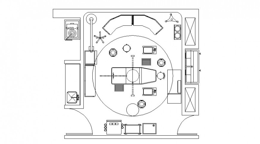 Clinic top view layout plan with equipment and furniture dwg file