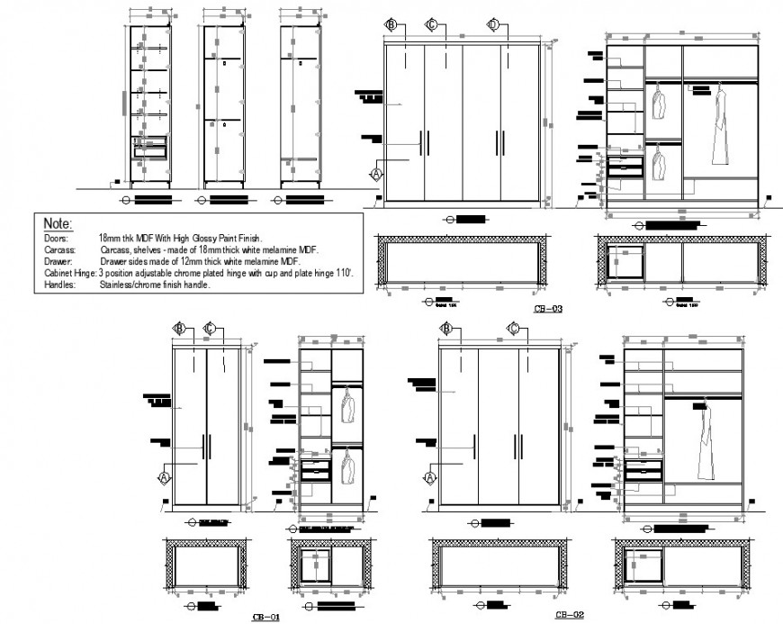 Cloth cub board plan and elevation autocad file