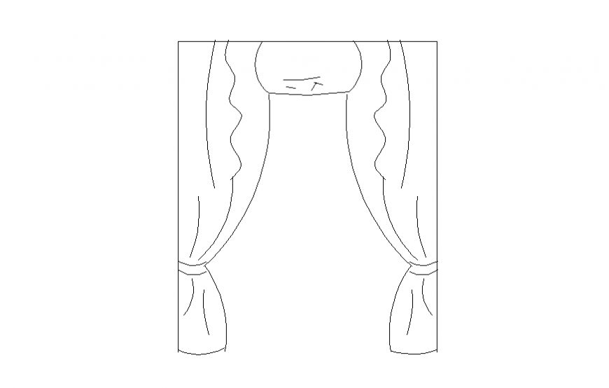Cloth curtain detail elevation 2d view layout file