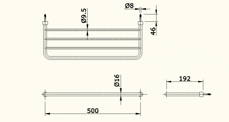 Clothing hanger detail elevation layout file