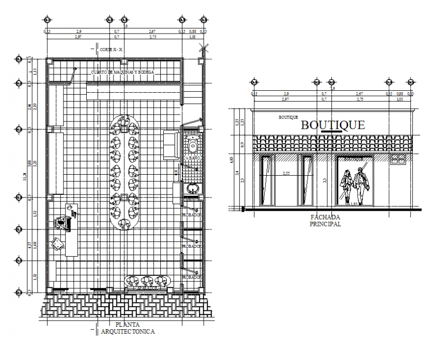 Clothing store main elevation and plan details dwg file