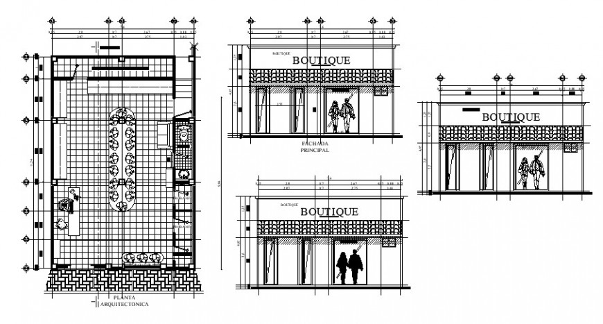 Clothing store with shopping area plan and section view in auto cad