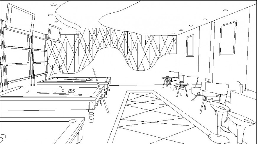 Club house and play court area perspective view detail dwg file