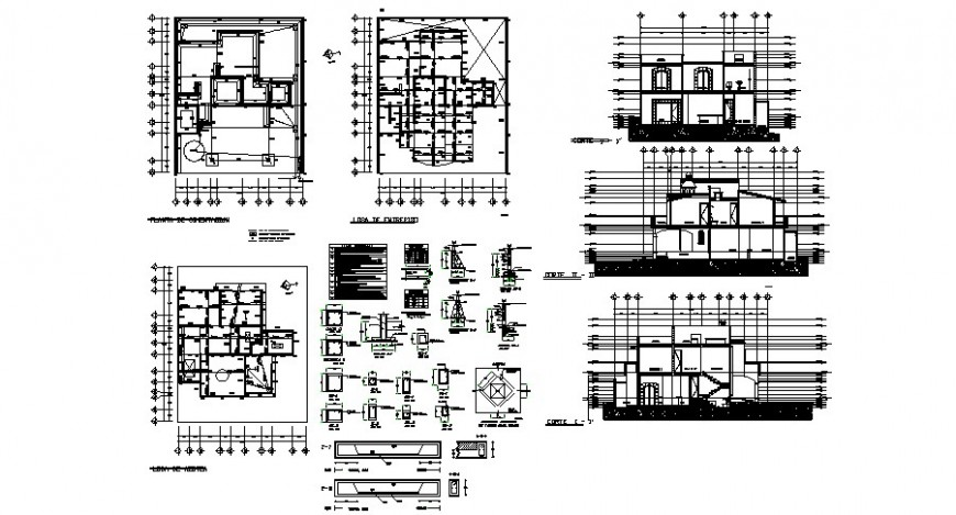 Club house elevation, section and constructive structure with column etc cad drawing details dwg file