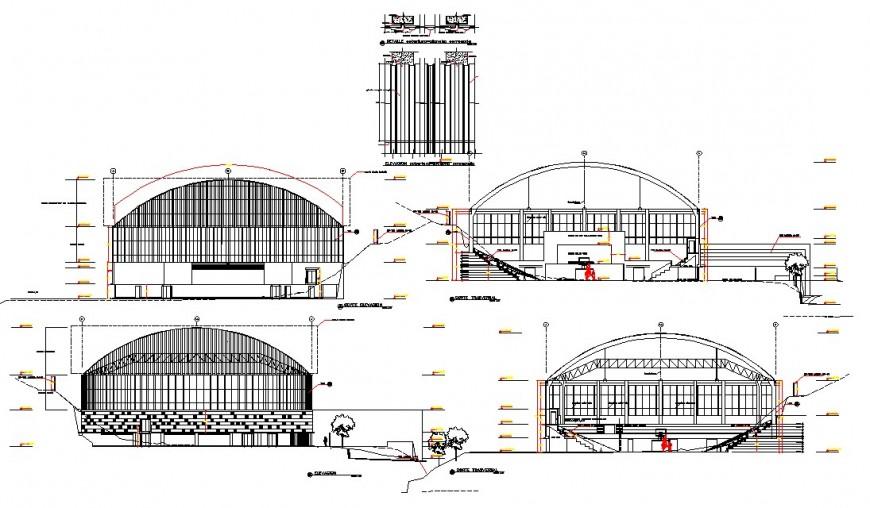 Club house elevation plan detail dwg file
