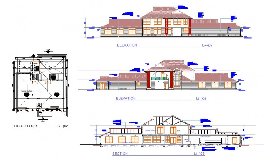 Club house first floor plan, elevation and section layout file