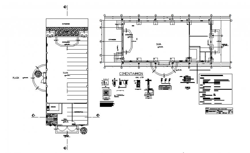 Club house foundation  plan and section autocad file