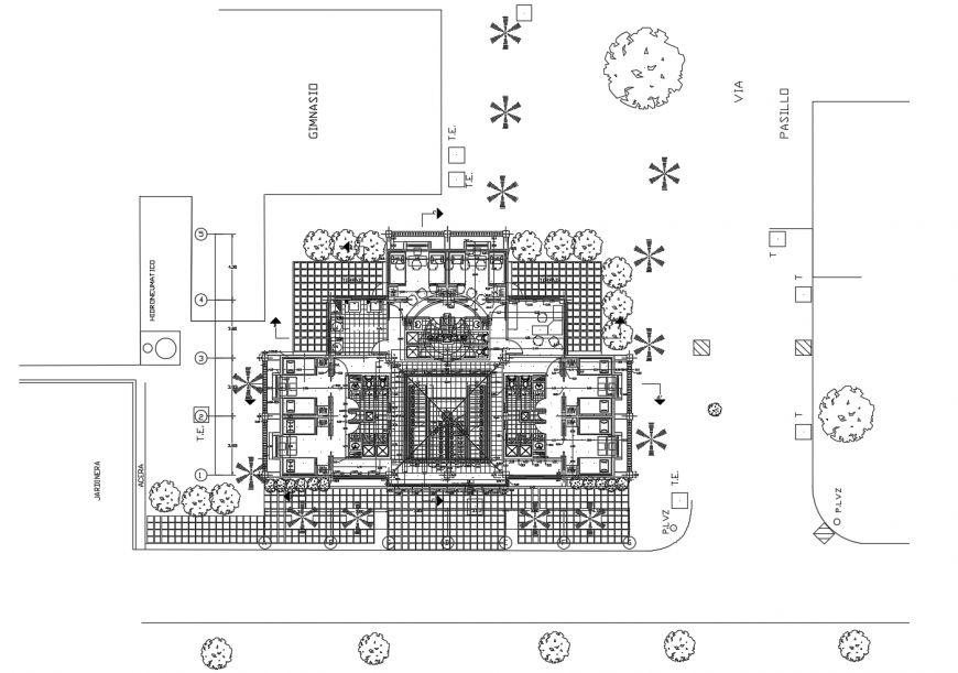 Club house layout plan and landscaping structure drawing details dwg file