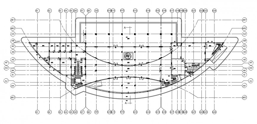 Club house layout plan cad file
