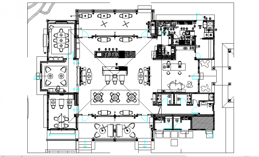 Club house lounge architecture layout plan details dwg file