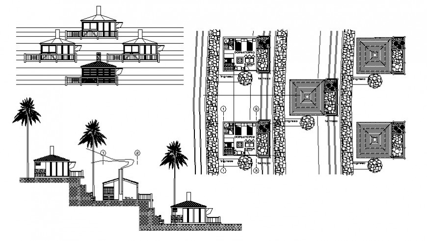 Club house on mountain elevation, section and plan cad drawing details dwg file