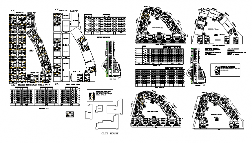 Club house plan, elevation and section detail dwg file