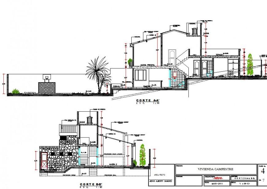 Club house section detail 2d view CAD construction block layout Autocad file
