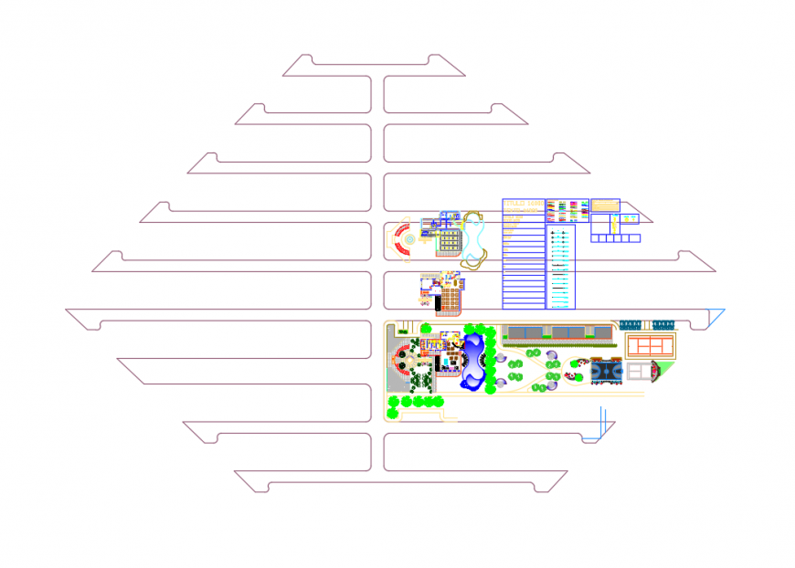 Club house site plan with layout plan details dwg file