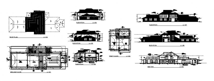 Club house with garden and mini market all sided elevation, section and floor plan cad drawing details dwg file