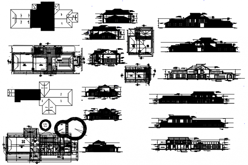 Club house with garden and mini market elevations, section and floor plan cad drawing details dwg file