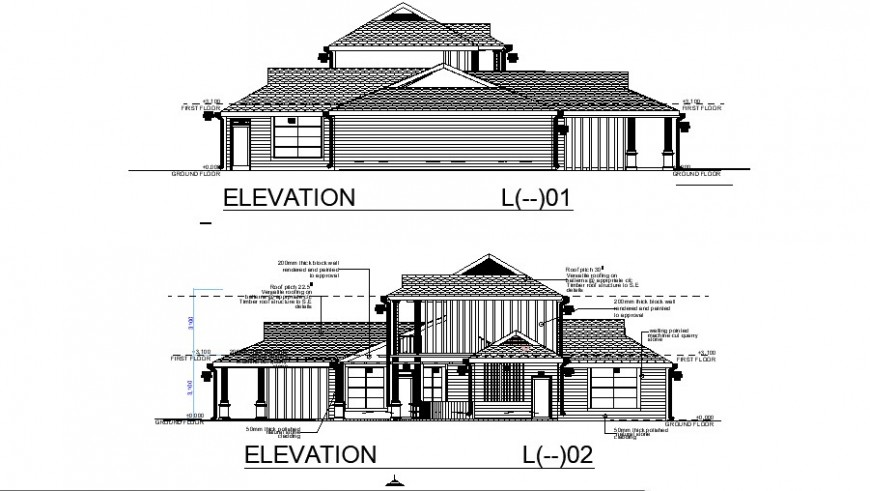 Club house with garden elevation in auto cad