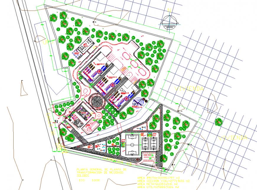 Club site plan drawing in dwg file.