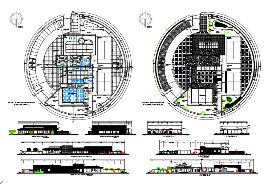 Clubhouse all sided elevation, section and floor plan layout details dwg file
