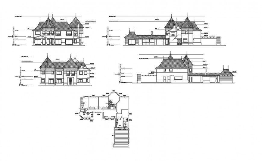 Clubhouse all sided elevation and framing plan structure cad drawing details dwg file