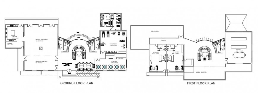 clubhouse ground floor and first floor layout plan cad file