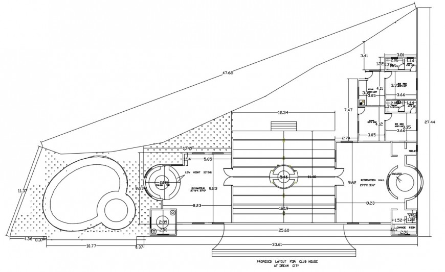 Clubhouse layout plan cad file