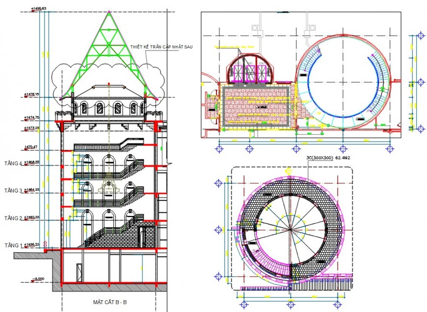 Clubhouse three level main section, plan and structure drawing details dwg file