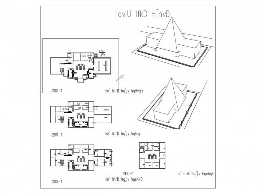Clubhouse with garden floor plan and auto-cad drawing details dwg file