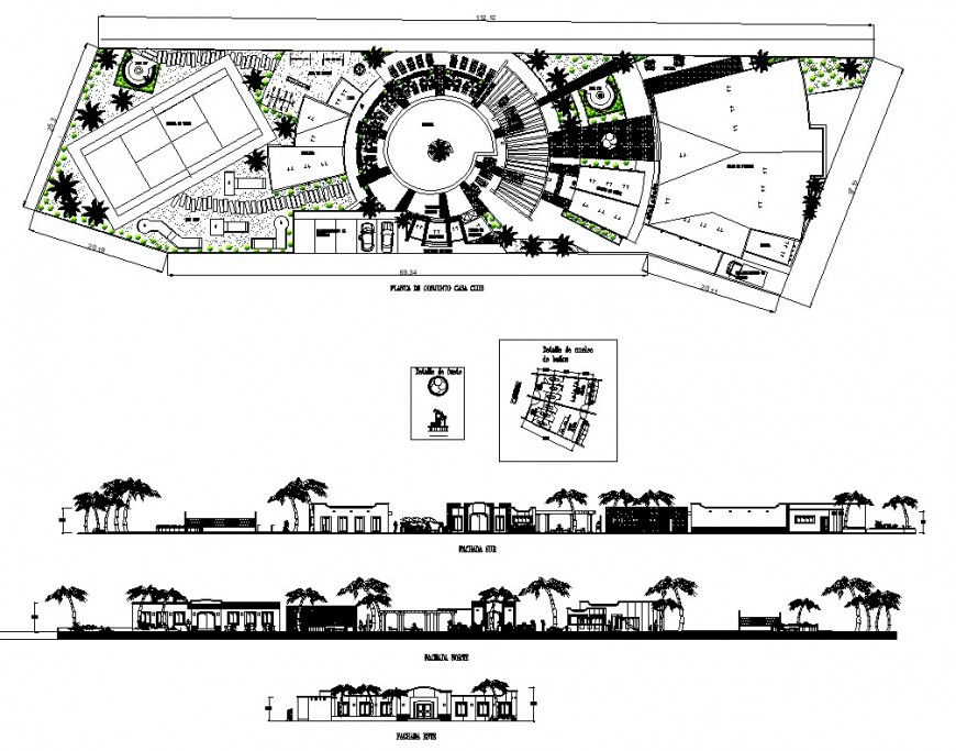 Co-operate building structure detail plan and elevation 2d view layout dwg file