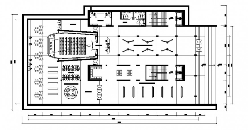Co-operate office building drawings 2d view floor plan dwg file