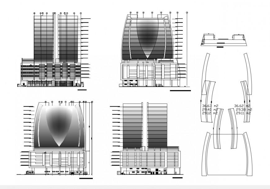 Co-operative building detail elevation 2d view CAD block autocad file