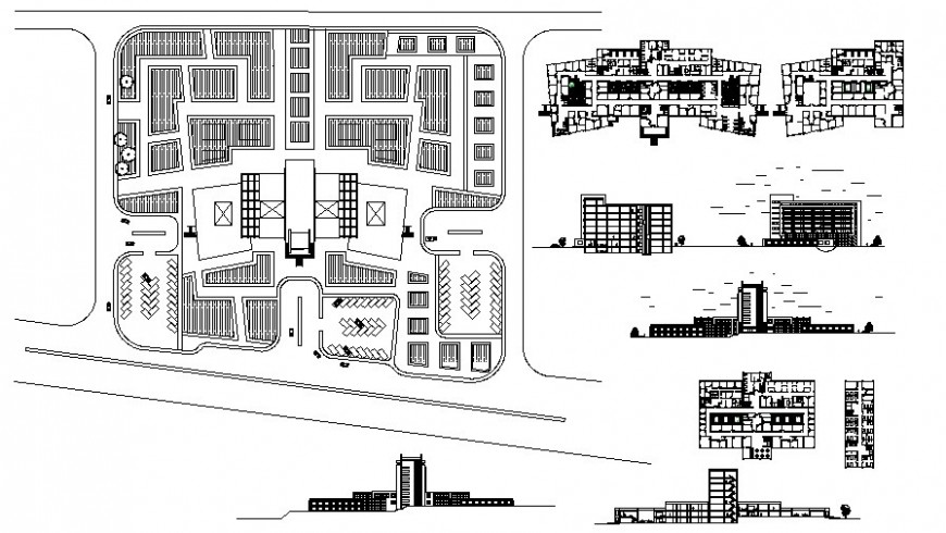Co-operative buildng drawings plan elevation and section in autocad file
