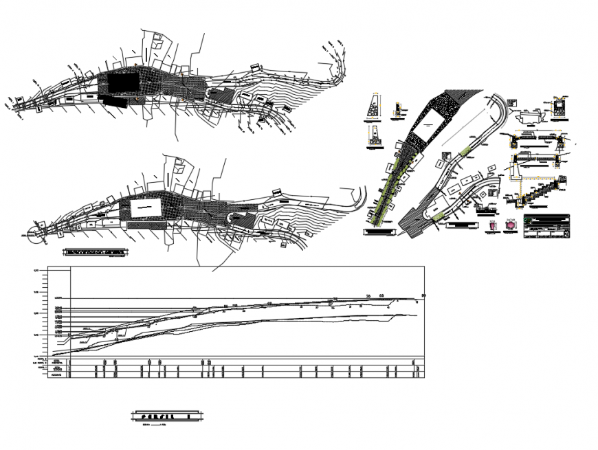 Cobble stoned pedestrian of garden structure details dwg file