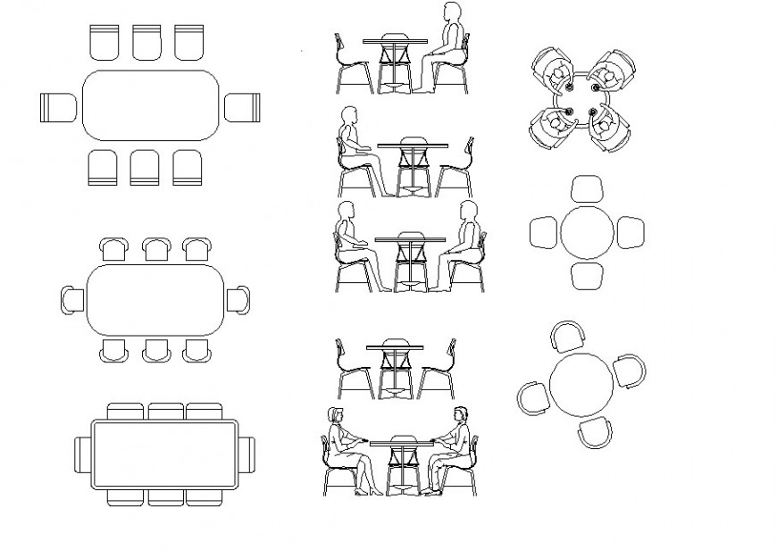 Coffee and meeting table plan autocad file