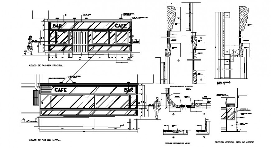 Coffee bar elevation and section cad drawing details dwg file