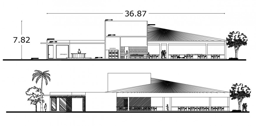 Coffee bar with gym main and back section cad drawing details dwg file