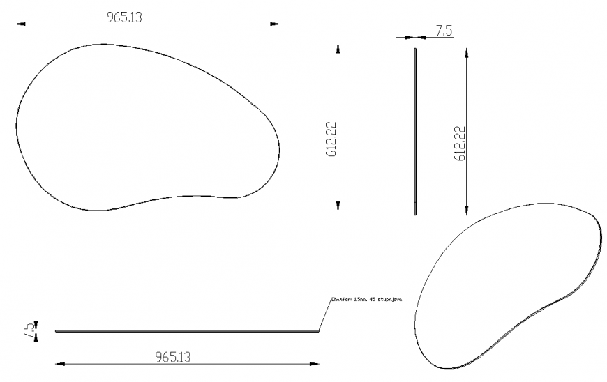 Coffee table drawing in dwg file.
